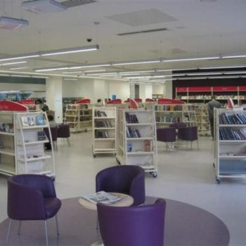 Library Purple and White Flooring